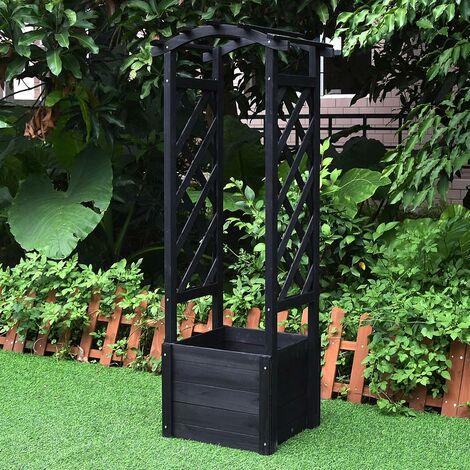 Macetero de madera con arco de rosas - negro