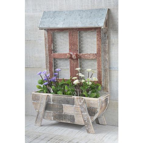 Macetero de Madera, con forma de ventana. Diseño Original, al estilo Home Garden, para Terraza/Salón - Hogar y Más