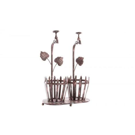 Macetero de metal envejecido (31x18x46 cm)