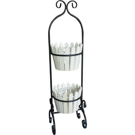 Macetero Decorativo Blanco Vertical de Madera Natural, Ideal para Exterior o Interior. Vintage/Original 80x22,5x21cm