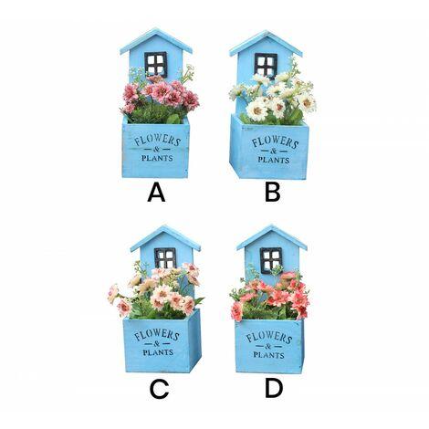 Macetero decorativo de madera natural en forma de casa Garden con pátina azul para jardín . Producto natural - Hogar y más C