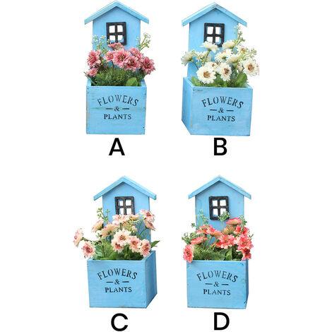 Macetero decorativo de madera natural en forma de casa Garden con pátina azul para jardín . Producto natural - Hogar y más D