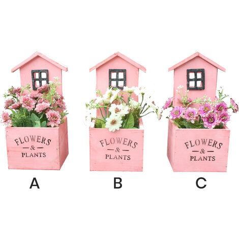 Macetero decorativo de madera natural en forma de casa Garden con pátina rosa para jardín  - Diseño Original - Hogar y más