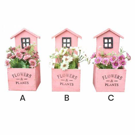 Macetero decorativo de madera natural en forma de casa Garden con pátina rosa para jardín - Diseño Original - Hogar y más C