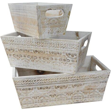 """main image of """"Macetero Decorativo de Madera Vintage Set 3, Cajas de Almacenamiento para Jardín 17,5x29x11,5 cm"""""""