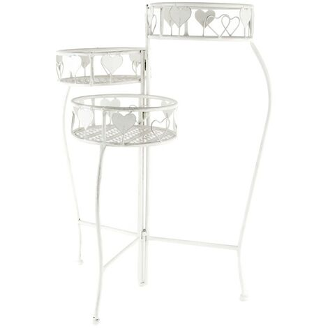 Macetero Decorativo Grande Blanco Vertical de Metal, Exterior/Interior, Desplegable. 3 Maceteros (50x23x6 cm)