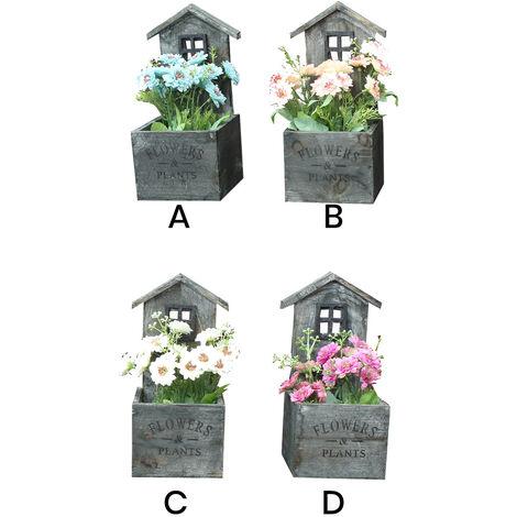 Macetero Decorativo Madera NaturaL, Diseño Casa. Pátina gris para Jardín 11x24x11 cm