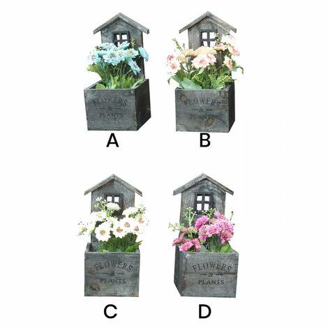 Macetero Decorativo Madera NaturaL, Diseño Casa. Pátina gris para Jardín 11x24x11 cm C