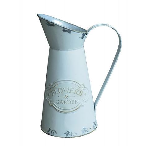 Macetero Decorativo Vintage de Metal Blanco para Interior/Exterior. Original en forma de Jarra 28X14X12 cm