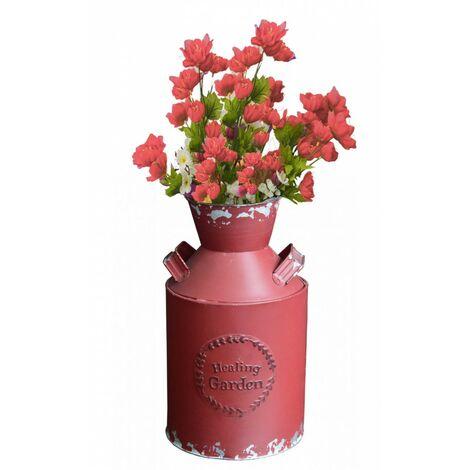 Macetero Decorativo Vintage de Metal Rojo para Interior/Exterior. Original en forma de Lechera 14X9X25 cm