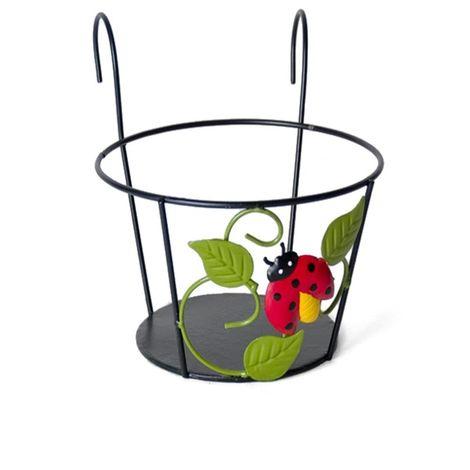Macetero forja, soporte para jardinera, Mariquita 20cm