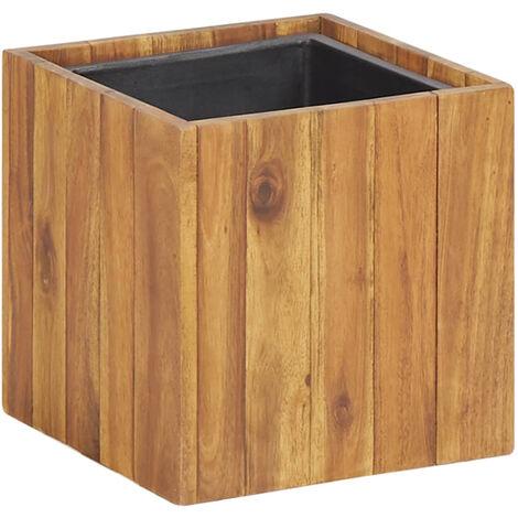 Macetero jardinera de madera maciza de acacia 24,5x24,5x24,5 cm