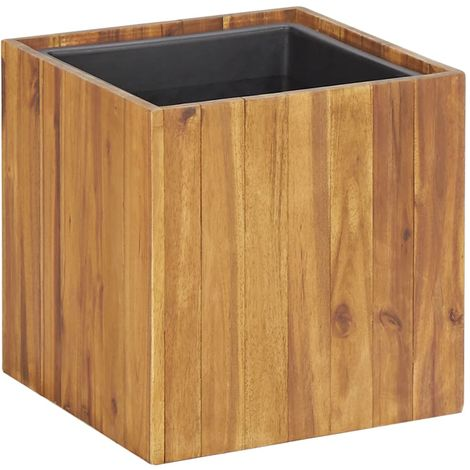 Macetero jardinera de madera maciza de acacia 33,5x33,5x33,5 cm