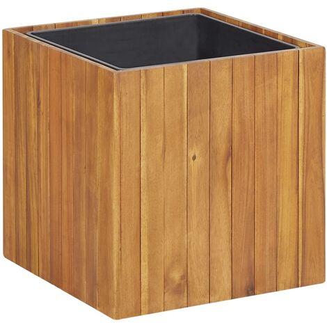 Macetero jardinera de madera maciza de acacia 43,5x43,5x44 cm