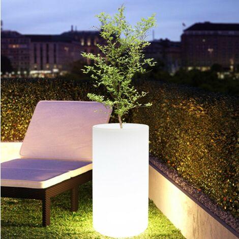 Macetero LED RGBW de Resina Blanca, 40x80cm, 7W, IP65, Recargable