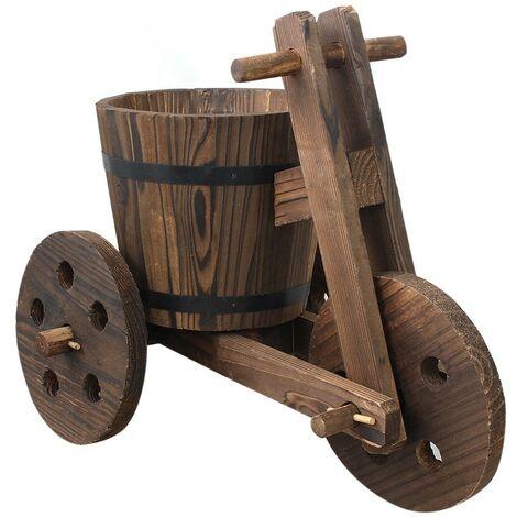 Macetero original de madera natural para jardín Bicicleta Garden Friends - Hogar y Mas