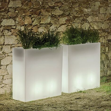 Macetero rectangular Hight MOOVERE 80 Iluminado Blanco Traslúcido por cable