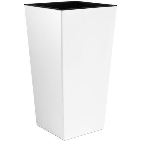 Macetero Zanvic Urbi 26,6 litros de plástico Fower Pot con Interior Liner 27 x 27 x 50 cm Blanco