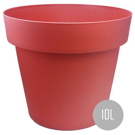 Maceteros Int/Ext. Grandes de PVC, Rojo 10L, Hidro-riego,30x30x23,5cm Set 1 ud.