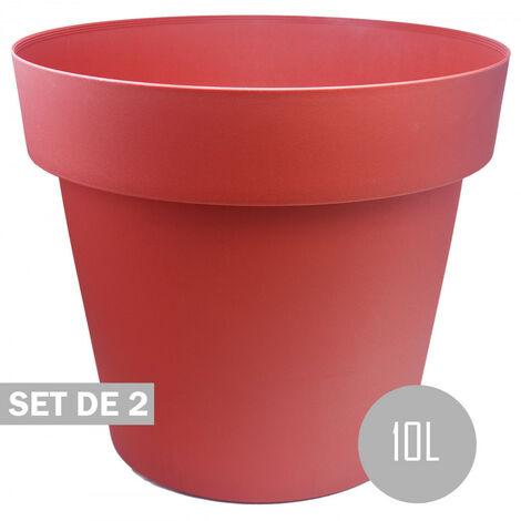 Maceteros Int/Ext. Grandes de PVC, Rojo 10L, Hidro-riego,30x30x23,5cm Set 2 uds.