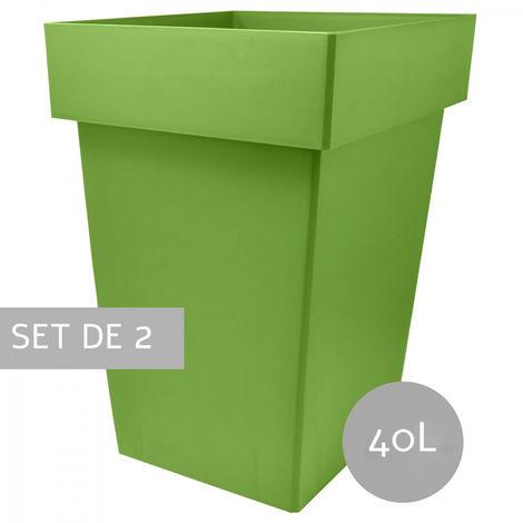 Maceteros Int/Ext. Grandes de PVC, Verde 40L, Hidro-riego,38x38x51,5cm Set 2 uds.