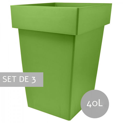Maceteros Int/Ext. Grandes de PVC, Verde 40L, Hidro-riego,38x38x51,5cm Set 3 uds.