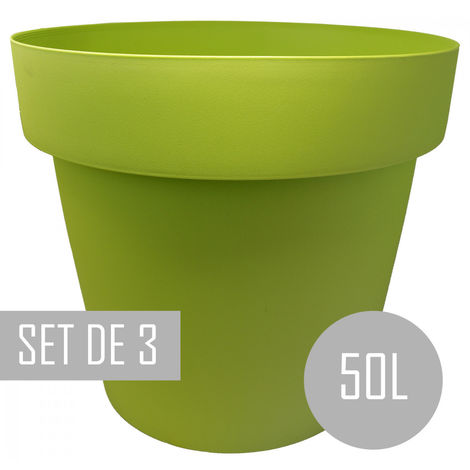 Maceteros Int/Ext. Grandes, Verde 50L,Hidro-riego y Ruedas, 50x50x41cm Set 3 uds.