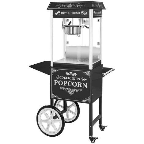 Machine à popcorn Noire Appareil Inox Popcorn Maker 5 Kg/H Design Vintage Usa
