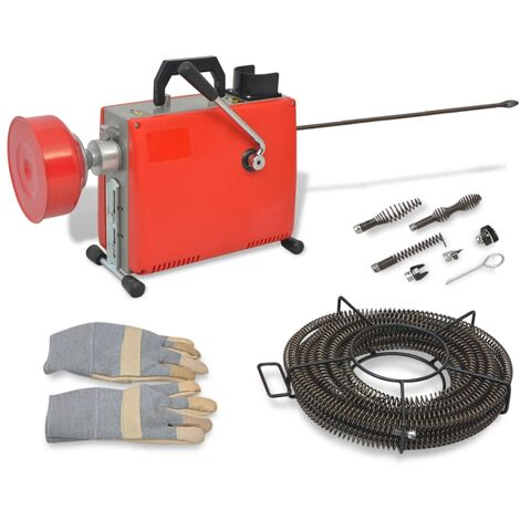 Machine de nettoyage de tuyaux 250W 15 m x 16 mm 4,5 m x 9,5 mm