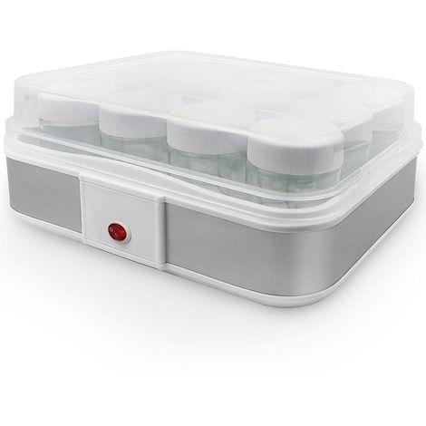 Machine pour Yaourt Fait Maison, Yaourtière, 12 pots, 30,6 x 25 x 12,4 cm, Blanc, Capacité par pot: 0,21 L