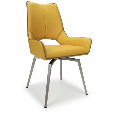 Mackerel Leather Effect Yellow Chair