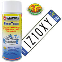 MACOTA Bianco Targhe Vernice Spray 400ml Pittura Tuning Targa Auto Colore Bianco
