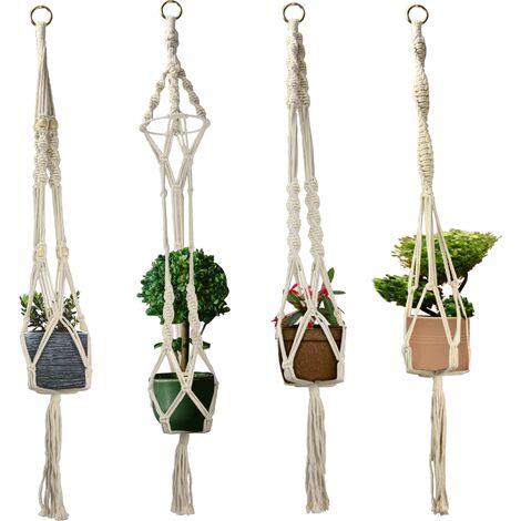 "main image of ""Macrame Plant Hangers - Set of 4   M&W - Multi"""