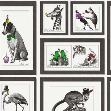 Mad Dogs Wallpaper Animal Print Bold Collage Black & White Multi Holden Decor