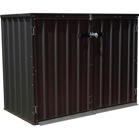 MADEIRA- Abri de jardin en métal 1.2 m² - Cabane / Remise de jardin - Rangement vélos- rangement de matériel de piscine et cache poubelles- pas cher-double porte - Tolle galvanisée. 152 X 78 cm Hauteur 115 cm- Shotts