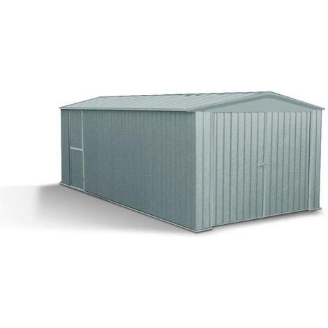 MADEIRA- Abri de jardin/ Garage en métal 13.5 m² - Cabane / Remise de jardin et tondeuse- Rangement 2 roues- moto- rangement de matériel de piscine et barbecue- pas cher-double porte - Tolle galvanisée 300 X 450cm, Hauteur 206 cm- Melton