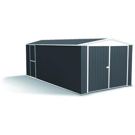 MADEIRA- Abri de jardin / Garage en métal 17.88 m² - Cabane / Remise de jardin pour tracteur tondeuse- Rangement 2 roues- moto, voiture- rangement de matériel de piscine et barbecue- pas cher-double porte - Tolle galvanisée 300 X 596cm, Hauteur 205 cm- He