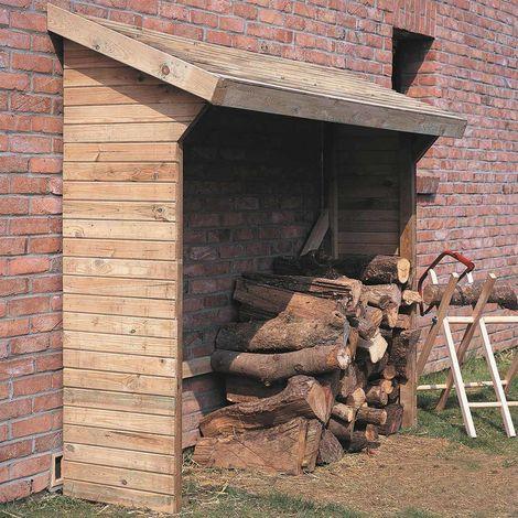 MADEIRA- abri de stockage de bois de chauffage- étagère pour bois de cheminée- bûcher en pin sylvestre autoclave- toit en pente- porte 4 stères de bûches de 25cm- L221 x l.114.5 xH208cm - 3m3- Memphis