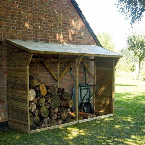 MADEIRA- abri de stockage de bois de chauffage- étagère pour bois de cheminée- bûcher en pin sylvestre autoclave- toit en pente- porte 6.5 stères de bûches de 25cm- L320 x l.100 xH213.5cm - 4m3- Memphis XL