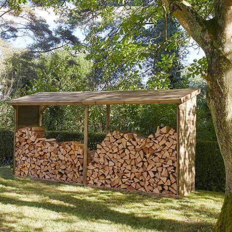 MADEIRA- abri de stockage de bois de chauffage- étagère pour bois de cheminée- bûcher en pin sylvestre autoclave- toit en pente- porte 9.5 stères de bûches de 25cm- L410 x l.114x H203cm - 5.7m3- Memphis XXL