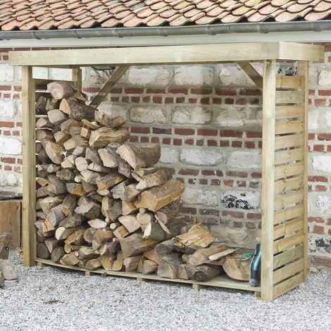 MADEIRA- abri de stockage de bois de chauffage- étagère pour bois de cheminée- bûcher en pin sylvestre autoclave- Toit plat avec un revêtement en feutre bitumeux et plancher - porte 4 stères de bûches de 33cm- L238.5xl.89.5xH183cm - 2,8m3- Dallas