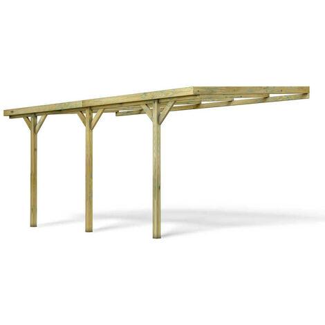 MADEIRA- carport adossé en bois traité autoclave, 1 voiture, 15.77 m² - pergola mural en pin sylvestre- arche de jardin en bois - qualité garantie- 301 X 524cm, Hauteur 257 cm-Gus