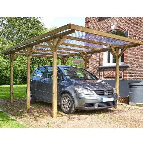 MADEIRA- Carport en bois traité autoclave, 1 voiture, 15.72 m² - pergola en pin sylvestre- arche de jardin en bois - qualité garantie- 304 X 517cm, Hauteur 234 cm- Max