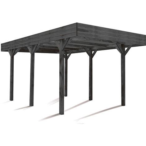 MADEIRA- Carport en bois traité autoclave gris anthracite, toit gris clair, 1 voiture, 15,75m² - pergola en pin sylvestre- arche de jardin en bois - qualité garantie- dimension extérieur : 304 X 518cm, Hauteur 234 cm- Louison