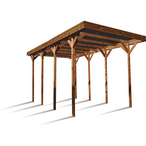 MADEIRA- Carport en bois traité autoclave marron, toit en polycarbonate gris antracite, 1 camping car, 32,4m² avec panneaux latéraux. - en pin sylvestre bois - qualité garantie- dimension extérieur : 404 X 802cm, Hauteur 381 cm- Camping-car