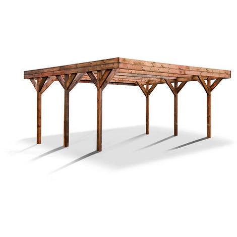 MADEIRA- Carport en bois traité autoclave marron, toit en PVC vert, 2 voitures, 30,86 m² - pergola en pin sylvestre- arche de jardin en bois - qualité garantie- 604 X 511cm, Hauteur 246 cm- Double Enzo