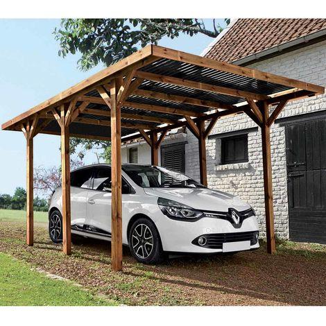 MADEIRA- Carport en bois traité autoclave marron, toit noir, 1 voiture, 15.56 m² - pergola en pin sylvestre- arche de jardin en bois - qualité garantie- 304 X 517cm, Hauteur 234 cm- Enzo