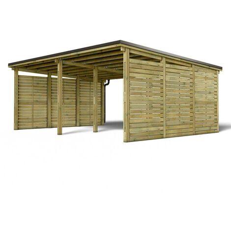 MADEIRA- En bois traité autoclave classe 4 marron, toit en acier galvanisé + gouttière, 2 voitures, 40,14m²avec panneaux latéraux - en pin sylvestre bois - qualité garantie- dimension extérieur : 685 X 586cm, Hauteur 280 cm- Shelty + 2