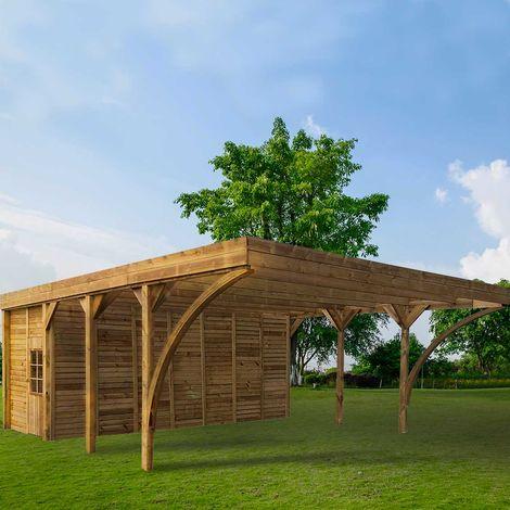 MADEIRA- En bois traité autoclave marron, toit en polycarbonate gris, 2 voitures, 42,12m² dont un Abris de jardin intégré de 12,78m²- pergola en pin sylvestre- arche de jardin en bois - qualité garantie- dimension extérieur : 594 X 709cm, Hauteur 273cm -
