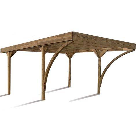MADEIRA- En bois traité autoclave marron, toit en PVC gris anthracite, 2 voitures, 30,86 m² - pergola en pin sylvestre- arche de jardin en bois - qualité garantie- 604 X 512cm, Hauteur 234 cm- Double Harold